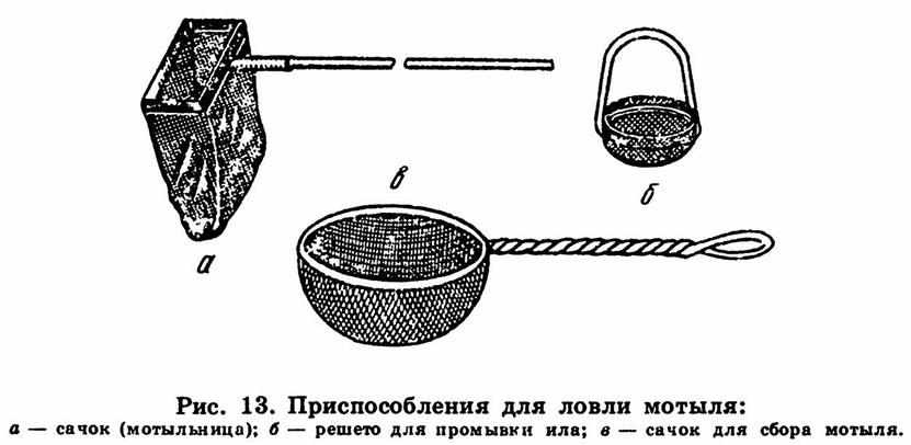 Рис. 13. Приспособления для ловли мотыля