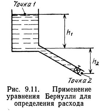 Рис. 9.11. Применение уравнения Бернулли для определения расхода