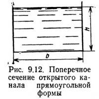 Рис. 9.12. Поперечное сечение открытого канала прямоугольной формы
