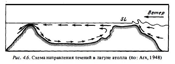 Рис.4.6. Течения в лагуне атолла