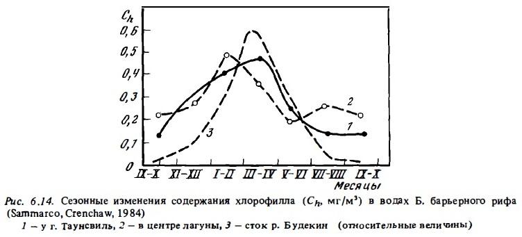 Рис.6.14. Изменения содержания хлорофилла в водах Б. барьерного рифа