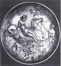Серебряный медальон с изображением Нереиды. Рим. II в. до н. э.